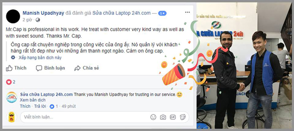 Customer talked about SUACHUALAPTOP24h.com
